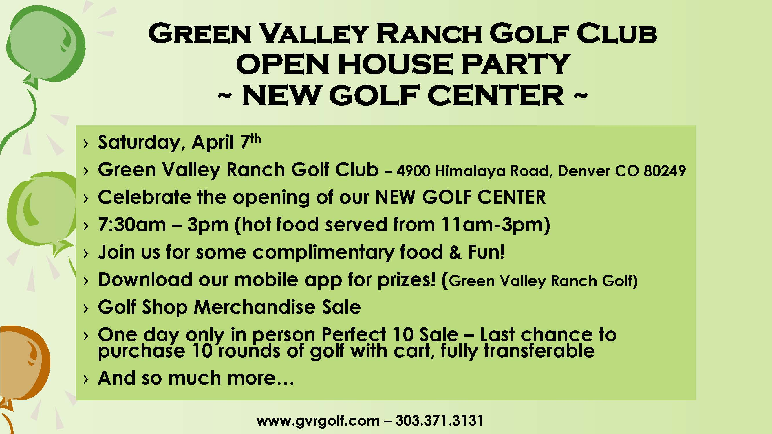 Green Valley Ranch Golf Center Open House Party