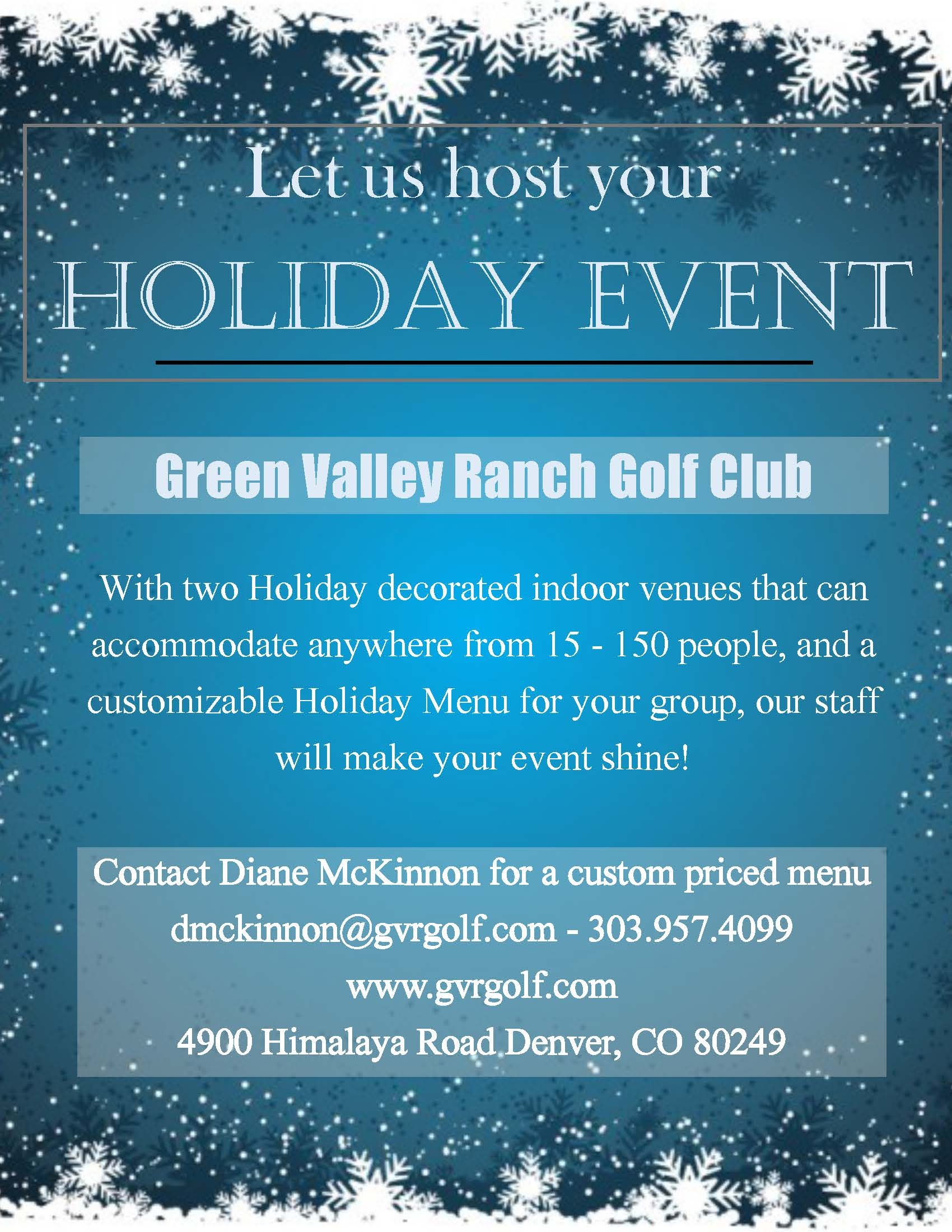 Holiday Flyer blue with menu Page 1