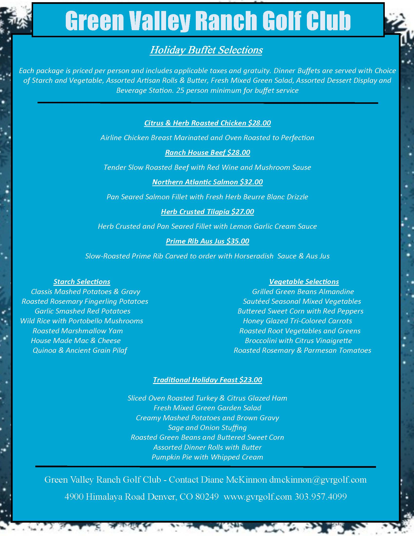 Holiday Flyer blue with menu Page 2